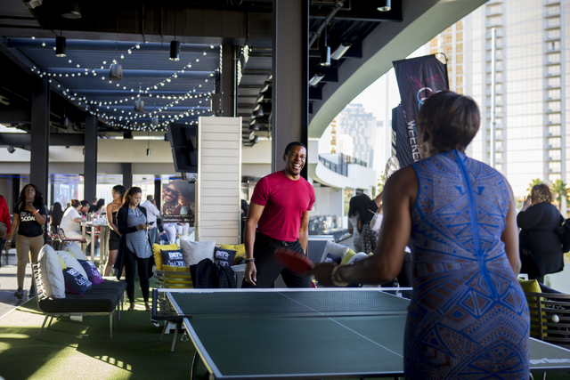 """Soul Train Producer Tony Cornelius and Actress Dawnn Lewis play a game of pingpong at Topgolf Las Vegas for the """"Soul Lunch & Greens,"""" a benefit for the Don Cornelius Foundation Friday, Nov. 4 ..."""