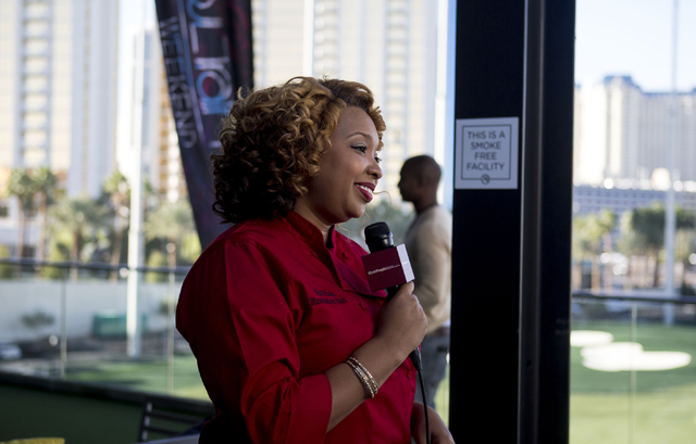"""Chef Huda is interviewed at Topgolf Las Vegas for the """"Soul Lunch & Greens,"""" a benefit for the Don Cornelius Foundation Friday, Nov. 4, 2016. Elizabeth Page Brumley/Las Vegas Review-Journal Fo ..."""