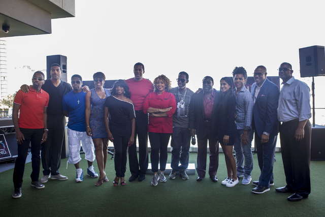 """A group photo is taken of some of the stars appearing at Topgolf Las Vegas for the """"Soul Lunch & Greens,"""" a benefit for the Don Cornelius Foundation Friday, Nov. 4, 2016. Elizabeth Page Brumle ..."""
