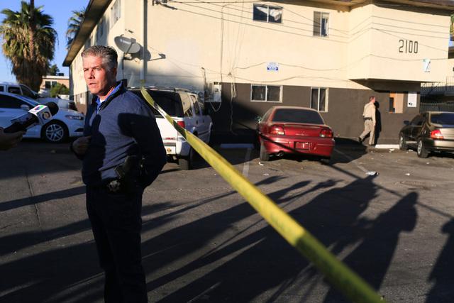 Metro Lieutenant Dan McGrath briefs the media about the shooting death of a man at a Sunrise Avenue apartment in Las Vegas on Friday, Nov. 25, 2016. Brett Le Blanc/Las Vegas Review-Journal Follow  ...