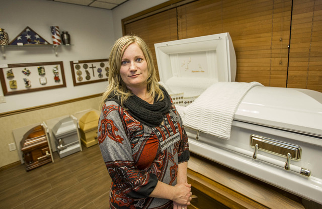 Jill Bernacki, CEO of Trauma Intervention Program, and a part-time employee at the Clark County coronerճ office, poses at the La Paloma Funeral Services on Tuesday, Nov. 15, 2016. Richard Br ...