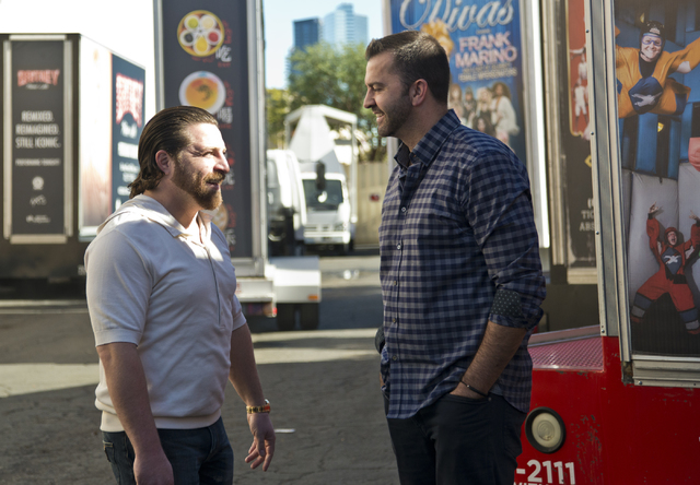 Managing partners of Kre8 Media Outdoor Advertising Shaun Habibian, left, and Jeremie Watkins outside their mobile billboard garage near the Palms hotel-casino on Friday, Nov. 18, 2016. Daniel Cla ...