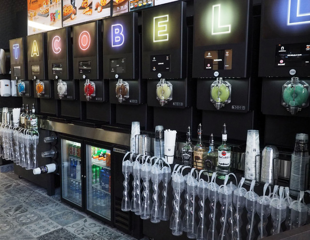 "The new Taco Bell Cantina in the Harmon Center sports a ""freeze bar"" in Las Vegas, Monday, Nov. 14, 2016. Both alcoholic and non-alcoholic freezes are available. (Jerry Henkel/Las Vegas Review-Jou ..."