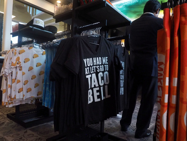 Taco Bell merchandise is available at the new Taco Bell Cantina in the Harmon Center in Las Vegas, Monday, Nov. 14, 2016. (Jerry Henkel/Las Vegas Review-Journal)