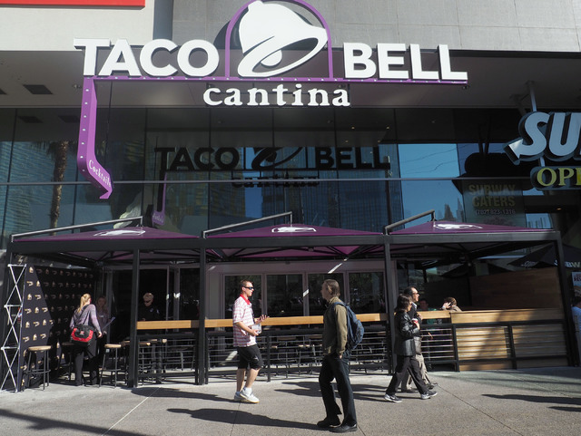 Pedestrians walk by the new Taco Bell Cantina in the Harmon Center in Las Vegas, Monday, Nov. 14, 2016. (Jerry Henkel/Las Vegas Review-Journal)