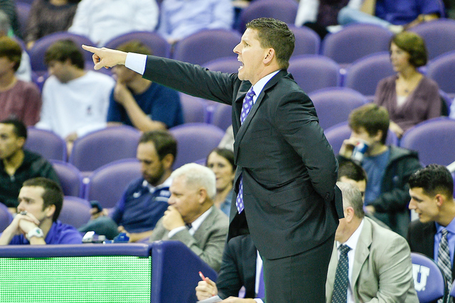 TCU assistant basketball coach Ryan Miller on the bench vs Alabama State at the Ed and Rae Schollmaier Arena on the TCU campus in Fort Worth, Texas on November 14, 2016.  Photos by Michael Clements.