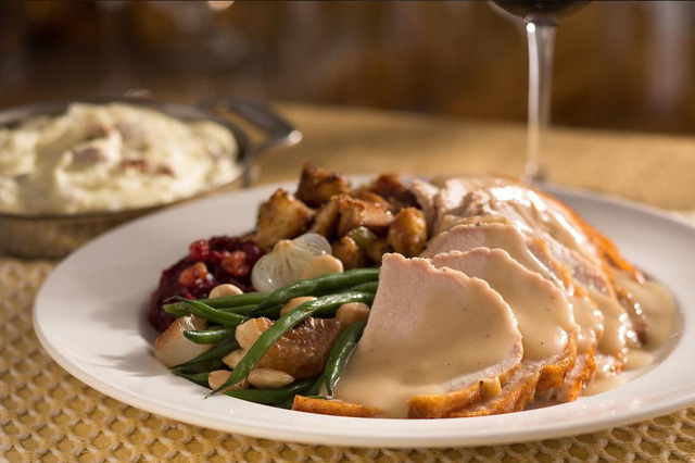 The Capital Grille at Fashion Show Mall is serving roasted turkey with brioche stuffing, French green beans, Sam's Mashed Potatoes and cranberry-pear chutney for Thanksgiving. (Twitter)