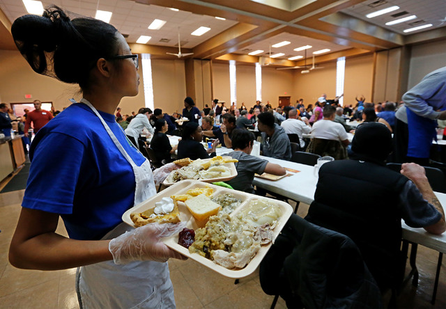 Guests have turkey dinners at the Las Vegas Rescue Mission in Las Vegas, Wednesday, Nov. 23, 2016. Chitose Suzuki/Las Vegas Review-Journal