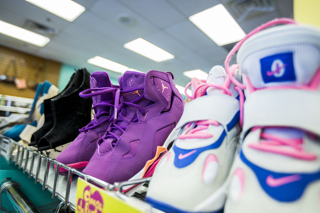 Shoes are displayed for purchase at Plato's Closet in Centennial Center, Friday, Sept. 30, 2016, in Las Vegas. Elizabeth Page Brumley/Las Vegas Review-Journal Follow @ELIPAGEPHOTO