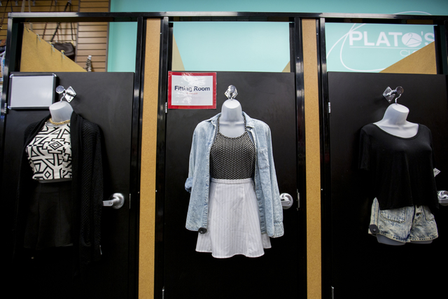 Outfits hang on the fitting rooms at Plato's Closet in Centennial Center, Friday, Sept. 30, 2016, in Las Vegas. Elizabeth Page Brumley/Las Vegas Review-Journal Follow @ELIPAGEPHOTO