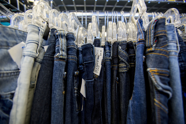 Jeans are hung for purchase at Plato's Closet in Centennial Center, Friday, Sept. 30, 2016, in Las Vegas. Elizabeth Page Brumley/Las Vegas Review-Journal Follow @ELIPAGEPHOTO