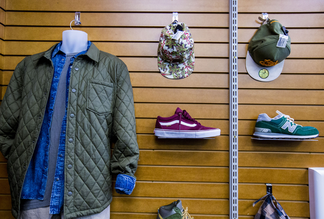 Shoes, hats and clothes are displayed for purchase at Plato's Closet in Centennial Center, Friday, Sept. 30, 2016, in Las Vegas. Elizabeth Page Brumley/Las Vegas Review-Journal Follow @ELIPAGEPHOTO