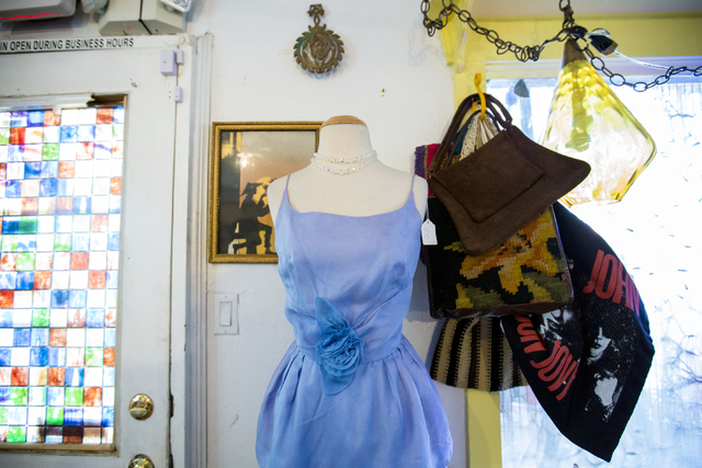 A vintage dress is displayed at Glam Factory Village, Friday, Sept. 30, 2016, in Las Vegas. Elizabeth Page Brumley/Las Vegas Review-Journal Follow @ELIPAGEPHO