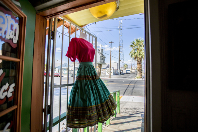 A vintage outfit hangs at the door entrance of Glam Factory Village, Friday, Sept. 30, 2016, in Las Vegas. Elizabeth Page Brumley/Las Vegas Review-Journal Follow @ELIPAGEPHO