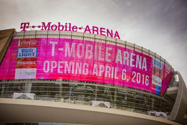 A sign on T-Mobile Arena is seen on Wednesday, April 6, 2016. (Jeff Scheid/Las Vegas Review-Journal Follow @jlscheid)