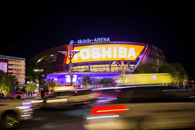 Traffic passes by the new T-Mobile Arena during opening night of the new Las Vegas entertainment venue, Wednesday, April 6, 2016. (Benjamin Hager/Las Vegas Review-Journal)