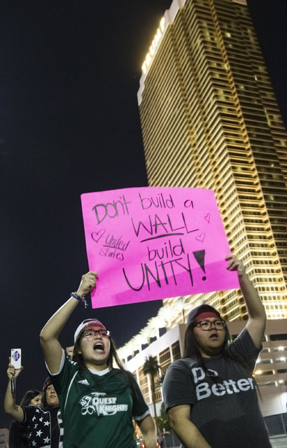 "Anti-Trump protesters march towards the Strip chanting ""Not my president"" on Weds, Nov. 9, 2016, in Las Vegas. Benjamin Hager/Las Vegas Review-Journal"