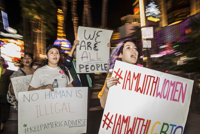 "Anti-Trump protesters march on the Strip chanting ""Not my president"" on Weds, Nov. 9, 2016, in Las Vegas. Benjamin Hager/Las Vegas Review-Journal"