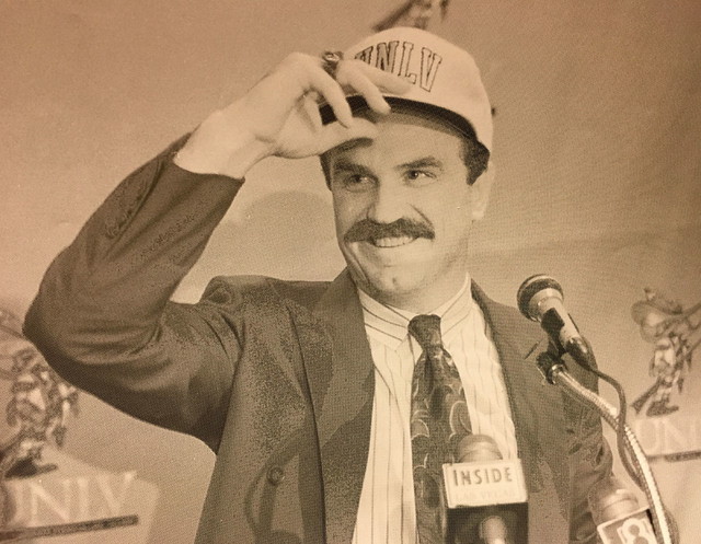 In this Nov. 23, 1993 file photo, Jeff Horton talks to the Las Vegas media after being named the new football coach at UNLV on Tuesday.  Horton who coached at the UNR replaced Jim Strong.  Wayne K ...
