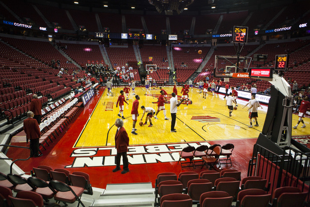The UNLV men's basketball team warms up before a game against New Mexico Highlands at the Thomas and Mack Center in Las Vegas, on Friday, Nov. 4, 2016. (Miranda Alam/Las Vegas Review-Journal) Foll ...