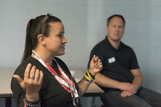UNLV student Allee Brooks, left, speaks with UNLV staff during a forum held at the school for students to discuss the outcome of the presidential election, Friday, Nov. 11, 2016. Jon Tucker, direc ...