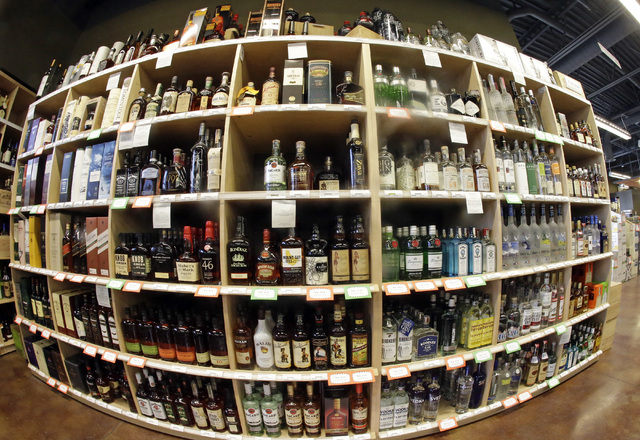 This photo shows bottles of alcohol during a tour of a state liquor store in Salt Lake City. (Rick Bowmer/AP)