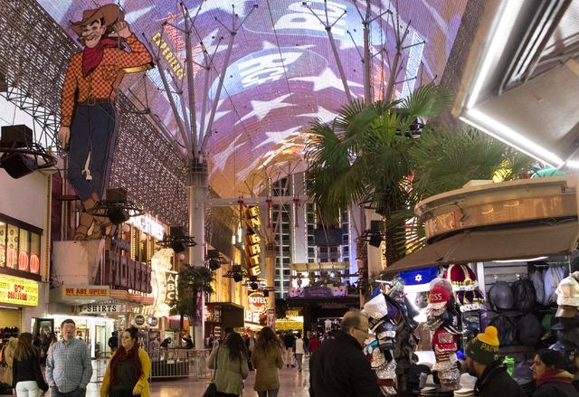 Vegas Vic on the Fremont Street Experience in downtown Las Vegas, on Tuesday, Nov. 29, 2016. Miranda Alam/Las Vegas Review-Journal Follow @miranda_alam