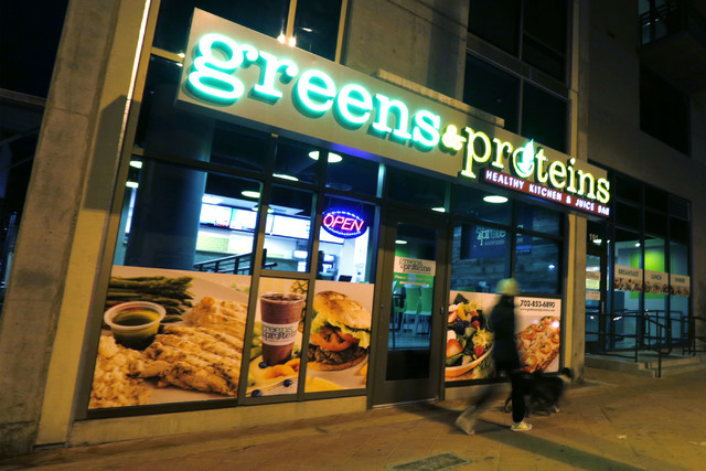 The exterior of Greens & Proteins at The Juhl is shown in downtown Las Vegas, Monday, Nov. 28, 2016. Chitose Suzuki/Las Vegas Review-Journal