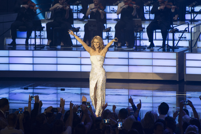 Celine Dion performs her 1,000th show at The Colosseum in Caesars Palace on Saturday, Oct. 8, 2016, in Las Vegas. (Jason Ogulnik/Las Vegas Review-Journal)