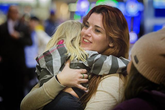 Shauna Mellor,right,  hugs her niece  Ember Gates after arriving at McCarran International Airport on Wednesday, Nov. 25, 2015. (Jeff Scheid/ Las Vegas Review-Journal) Follow @jlscheid