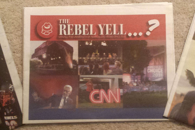 A copy of UNLV's student-run newspaper, the Rebel Yell, is seen on Monday, Nov. 7, 2016.  (Rick Velotta/Las Vegas Review-Journal)