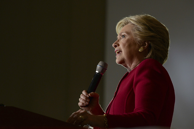 Democratic presidential candidate Hillary Clinton speaks at an early voting rally at the Broward College North Campus in Coconut Creek, Fla. on Tuesday, Oct. 25, 2016. (Maria Lorenzino/South Flori ...