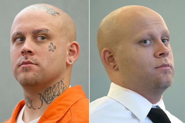 Bayzle Morgan appears before Judge Richard Scotti at the Regional Justice Center, left, and after a courtroom makeup artist covered his tattoos with makeup for his trial July 25, 2016, right. (Ric ...
