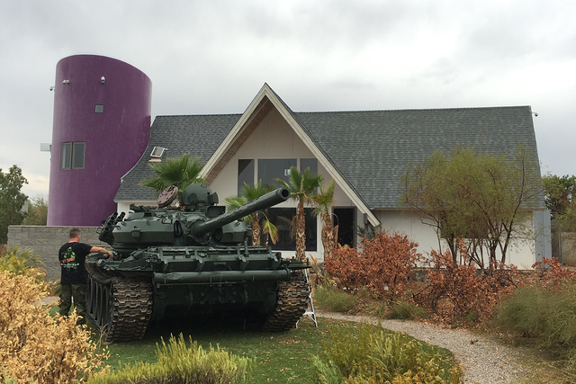 "A tank used for the Penn Jillette film ""The Grounds"" makes its way into The Slammer, Jillette's former home. (John Katsilometes/Las Vegas Review-Journal)"