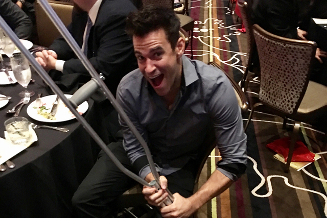 Jeff Civillico with his latest prop, shown during the St. Jude's Ranch for Children's golden anniversary gala at Green Valley Ranch on Nov. 2, 2016 (John Katsilometes/Las Vegas Review-Journal).