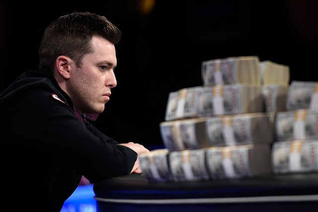 Gordon Vayo of San Francisco competes during the final table at the 2016 World Series of Poker Main Event at the Rio hotel-casino, Tuesday, Nov. 1, 2016, in Las Vegas. David Becker/Las Vegas Revie ...