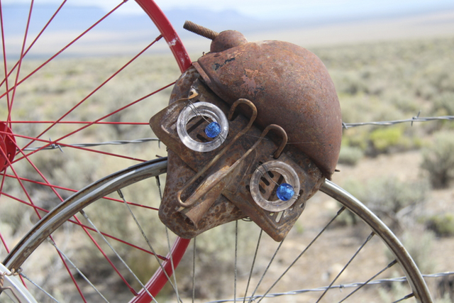 "A close-up view of one of ""Wheeler Peek's"" bicycle seat faces. Artist Joyce Nickerson took her sculpture down last week after state road workers said they would confiscate it for ..."