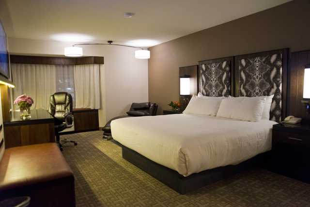 One of the newly renovated hotel rooms at Whiskey Pete's hotel-casino in Primm awaits guests on Friday, Nov. 4, 2016. (Daniel Clark/Las Vegas Review-Journal) Follow @DanJClarkPhoto
