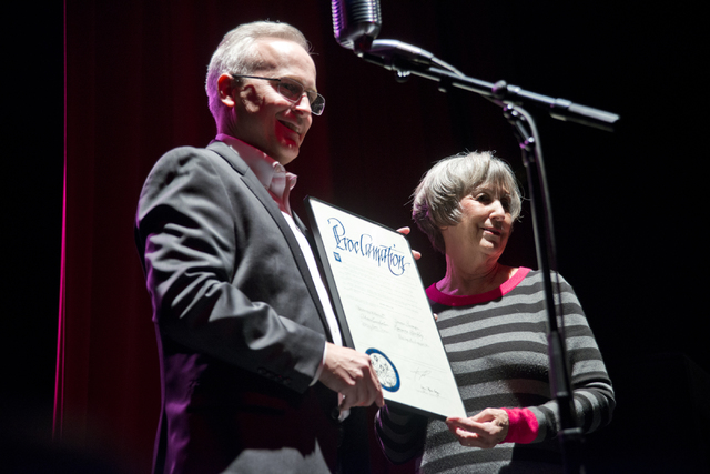 General manager of Primm Valley Casino Resorts, Stuart Richey, left, receives a proclamation from Clark County Commissioner Susan Brager during a celebration of completed renovations at Whiskey Pe ...