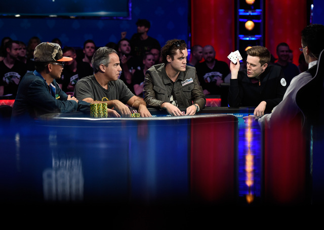 Players from left,Qui Nguyen of Las Vegas, Cliff Josephy of N.Y., Michael Ruane of N.J. and Gordon Vayo of San Francisco compete during the final table of the Main Event at the World Series of Pok ...