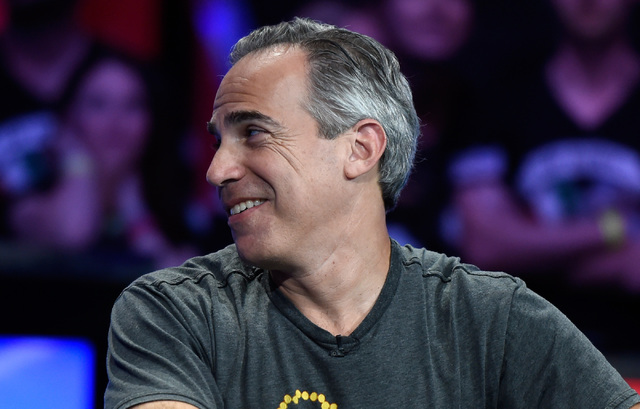 Cliff Josephy of N.Y. looks back to supporters during the final table of the Main Event at the World Series of Poker at the Rio hotel-casino, Monday, Oct. 31, 2016, in Las Vegas. David Becker/Las  ...
