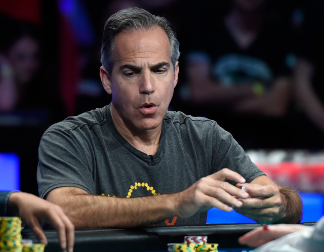 Cliff Josephy of N.Y. looks surprized during the final table of the Main Event at the World Series of Poker at the Rio hotel-casino, Monday, Oct. 31, 2016, in Las Vegas. David Becker/Las Vegas Rev ...
