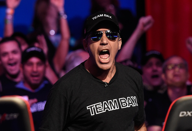 Cliff Josephy, of N.Y. reacts after winning an all-in bet against Qui Nguyen on the first hand of the night at the final table at the 2016 World Series of Poker Main Event at the Rio hotel-casino, ...