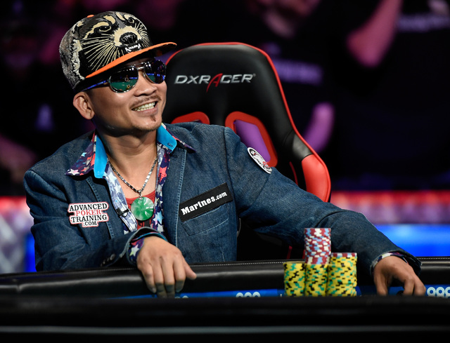 Qui Nguyen of Las Vegas smiles during the final table at the 2016 World Series of Poker Main Event at the Rio hotel-casino, Tuesday, Nov. 1, 2016, in Las Vegas. David Becker/Las Vegas Review-Journ ...