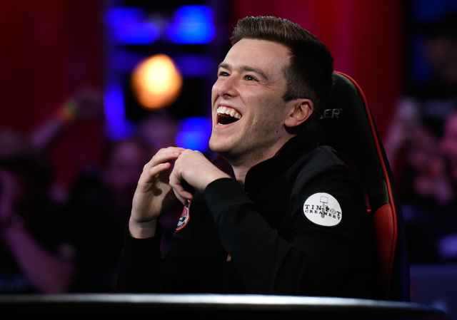 Gordon Vayo of San Francisco laughs during the final table at the 2016 World Series of Poker Main Event at the Rio hotel-casino, Tuesday, Nov. 1, 2016, in Las Vegas. David Becker/Las Vegas Review- ...