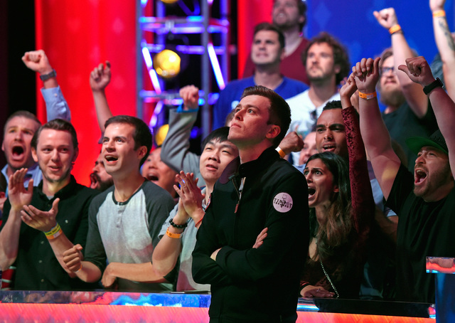 Gordon Vayo reacts after knocking out Cliff Josephy with an all-in bet by Josephy during the final table at the 2016 World Series of Poker Main Event at the Rio hotel-casino, Tuesday, Nov. 1, 2016 ...