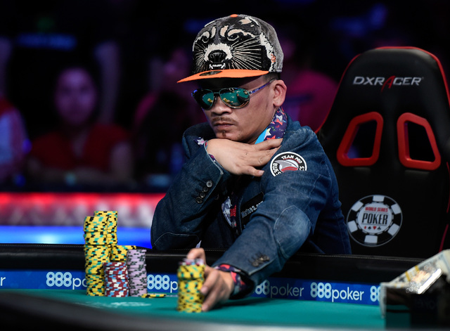 Qui Nguyen of Las Vegas bets a stack of chips during the final table at the 2016 World Series of Poker Main Event at the Rio hotel-casino, Tuesday, Nov. 1, 2016, in Las Vegas. David Becker/Las Veg ...