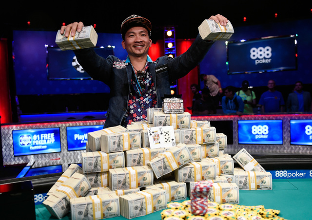 Qui Nguyen of Las Vegas celebrates his first place victory at the final table at the 2016 World Series of Poker Main Event at the Rio hotel-casino, Wednesday, Nov. 2, 2016, in Las Vegas. David Bec ...