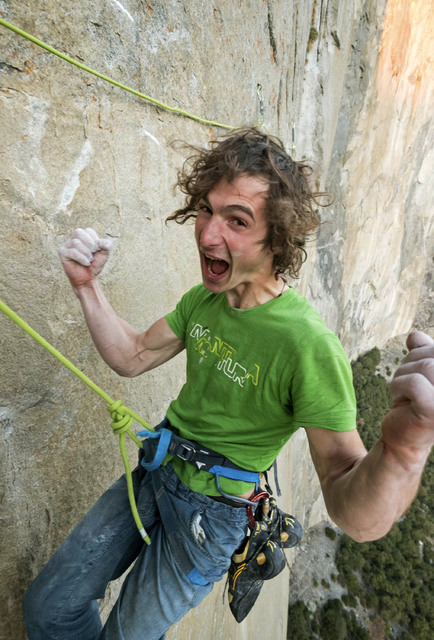 Adam Ondra celebrates after finishing the most difficult pitches of his climb on the Dawn Wall of El Capitan in Yosemite National Park, Calif. (Heinz Zak/Courtesy of Black Diamond Equipment via AP)