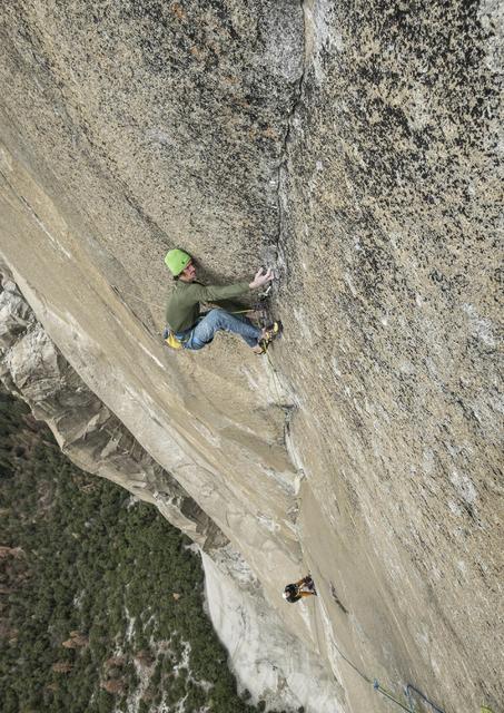 Adam Ondra navigates pitch 19 on the Dawn Wall of El Capitan in Yosemite National Park, Calif. (Heinz Zak/Courtesy of Black Diamond Equipment via AP)